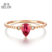 HELON Solid 14K Rose Gold Natural Diamond Tourmaline Ring Genuine Gemstone Ring Fine Jewelry Wedding Party Rings For Women Gift(China)