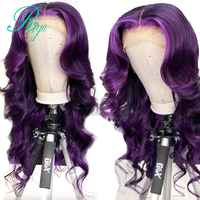13X6 Invisible Purple Ombre Colored Wavy Glueless Lace Front Human Hair Wigs Closure PrePlucked Frontal Lace Wig Brazilian Remy