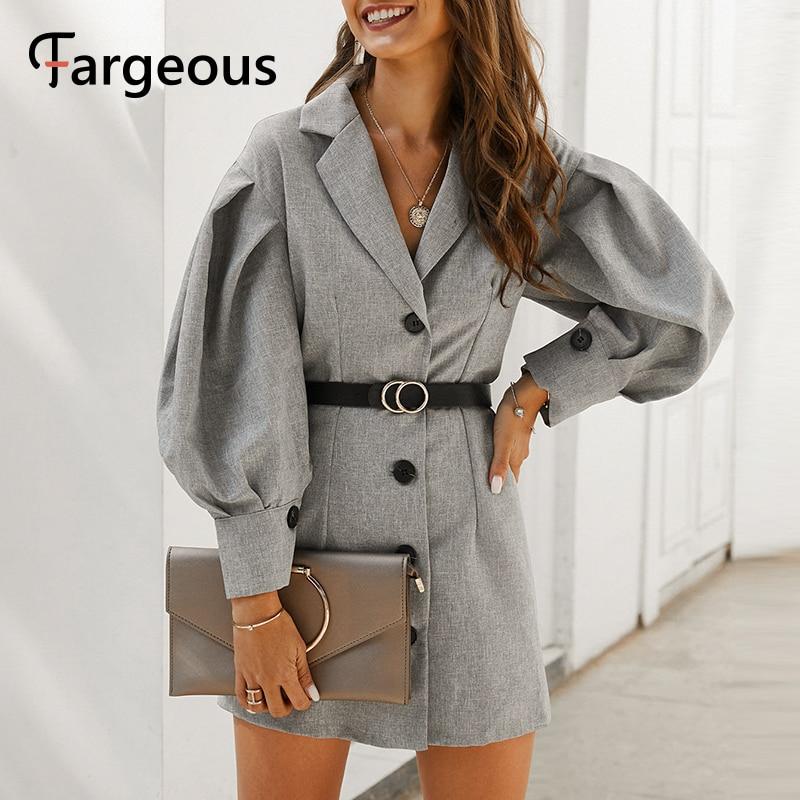 Fargeous элегантное женское платье-блейзер с рукавами-фонариками 2020 весеннее короткое платье трапециевидной формы для офиса модное платье раз...