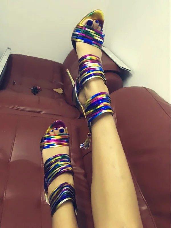 Colorido da moda Das Sandálias Das Mulheres Sapatas Das Senhoras Sapatos de Salto Alto Do Dedo Do Pé Aberto Cortar Fio De Alta Vamp Zip Up Tassel Vestido de Festa sandálias de pista - 3
