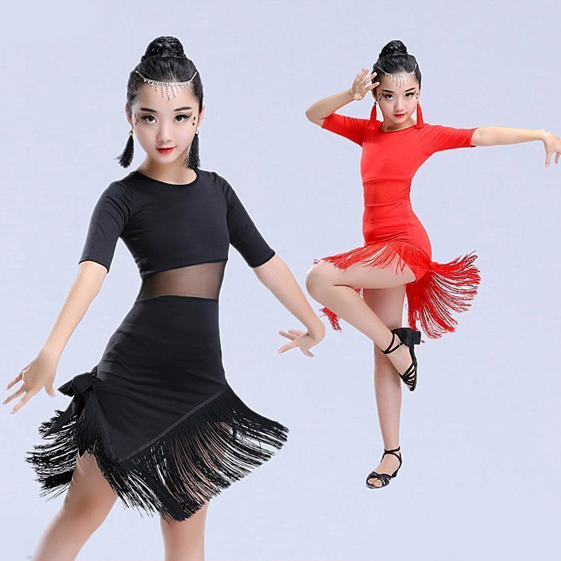 Songyueia New Kids Child Girls Latin Dance Dress Fringe Latin Dance Clothes Salsa Costume Black Red Ballroom Tango Dresses