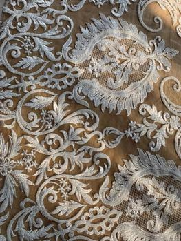 2020 Ivory Lace Fabric Material Allover Beads and Wedding Dress Heavy Handmade Beads Wedding Dress