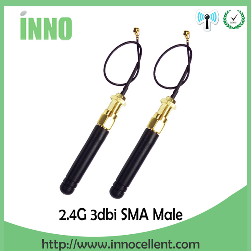 2pcs 2.4GHz Antenna SMA Male Connector 2dbi 24G Wifi Antenna Rubber Zigbee Short Antenna 2.4 GHz + PCI U.FL IPX Pigtail Cable