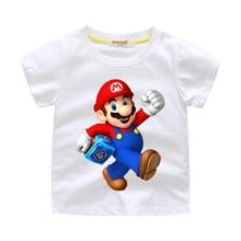 лучшая цена Boys Cartoon Mario DIY hot iron Clothes Girls Funny T-shirts 100%cotton Costume Children  Clothing Kids Tees Tops Baby T-shirts