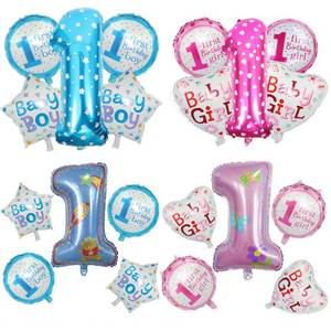 Decorations Craft Toy Pink Balloons-Set Number-Foil Air-Balls Birthday-Party Baby 1st
