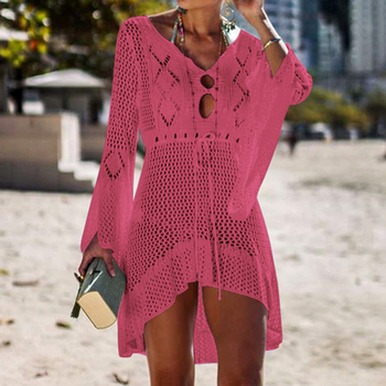Loozykit 2019 Women Crochet Knitted Cover Up Dress Beach Tunic Long Pareos Bikini Cover Bathing Suits Beachwears Robe Plage 10