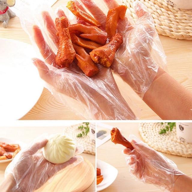 Disposable Gloves One-off Food Plastic Fruit Gloves Restaurant BBQ Transparent Eco-friendly PE Gloves Kitchen Garden Accessories 5