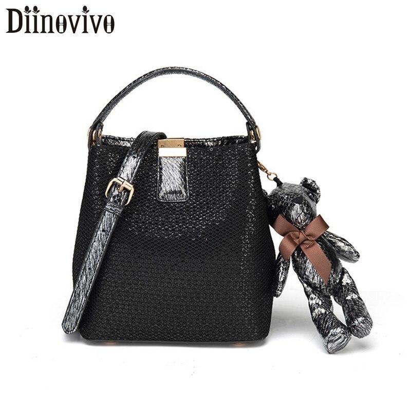 DIINOVIVO Bear Designer Shoulder Messenger Bag Ladies Bucket Female Luxury Crossbody Women Small Handbags WHDV1270