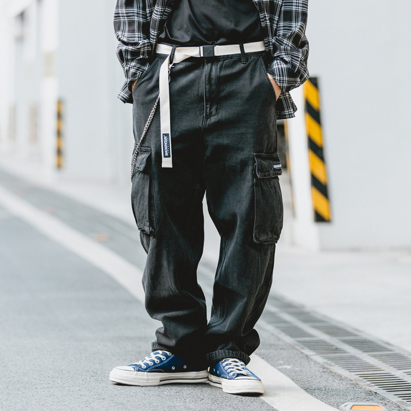 Loose-fit Belt Jeans Mens Old School Dad Jeans Casual Multi-pocket Baggy Straight Pants Men Black Thick Denim Trousers