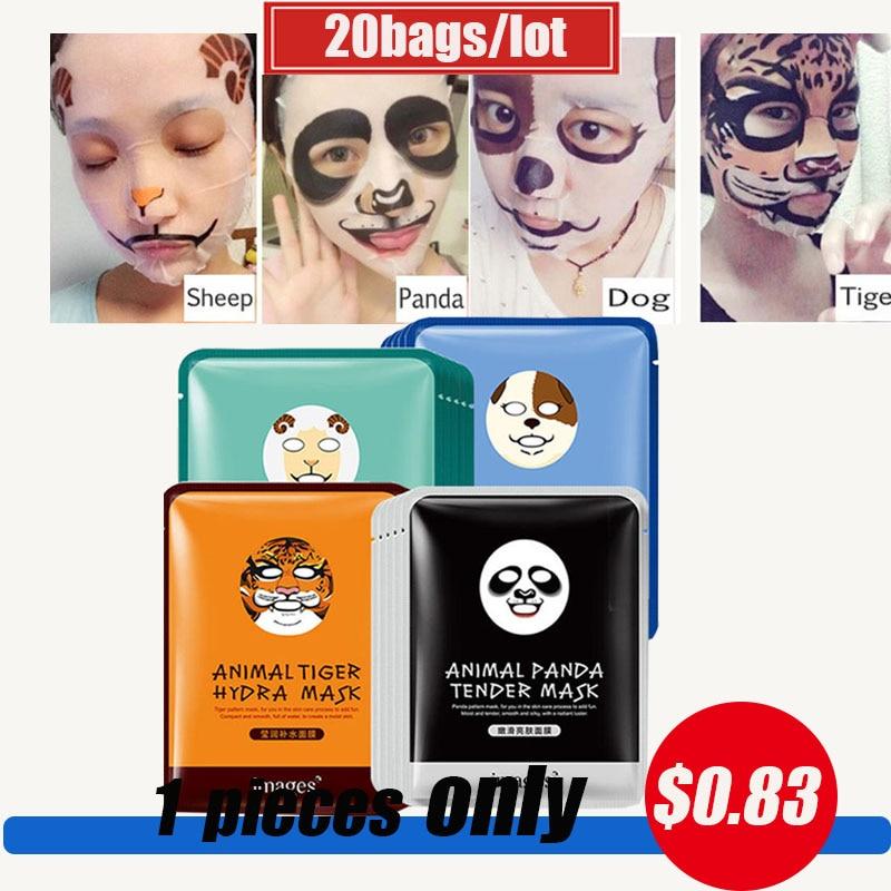 20 pcs tigre panda ovelhas cao mascara facial profunda hidratante folha mascara controle de oleo hidratante