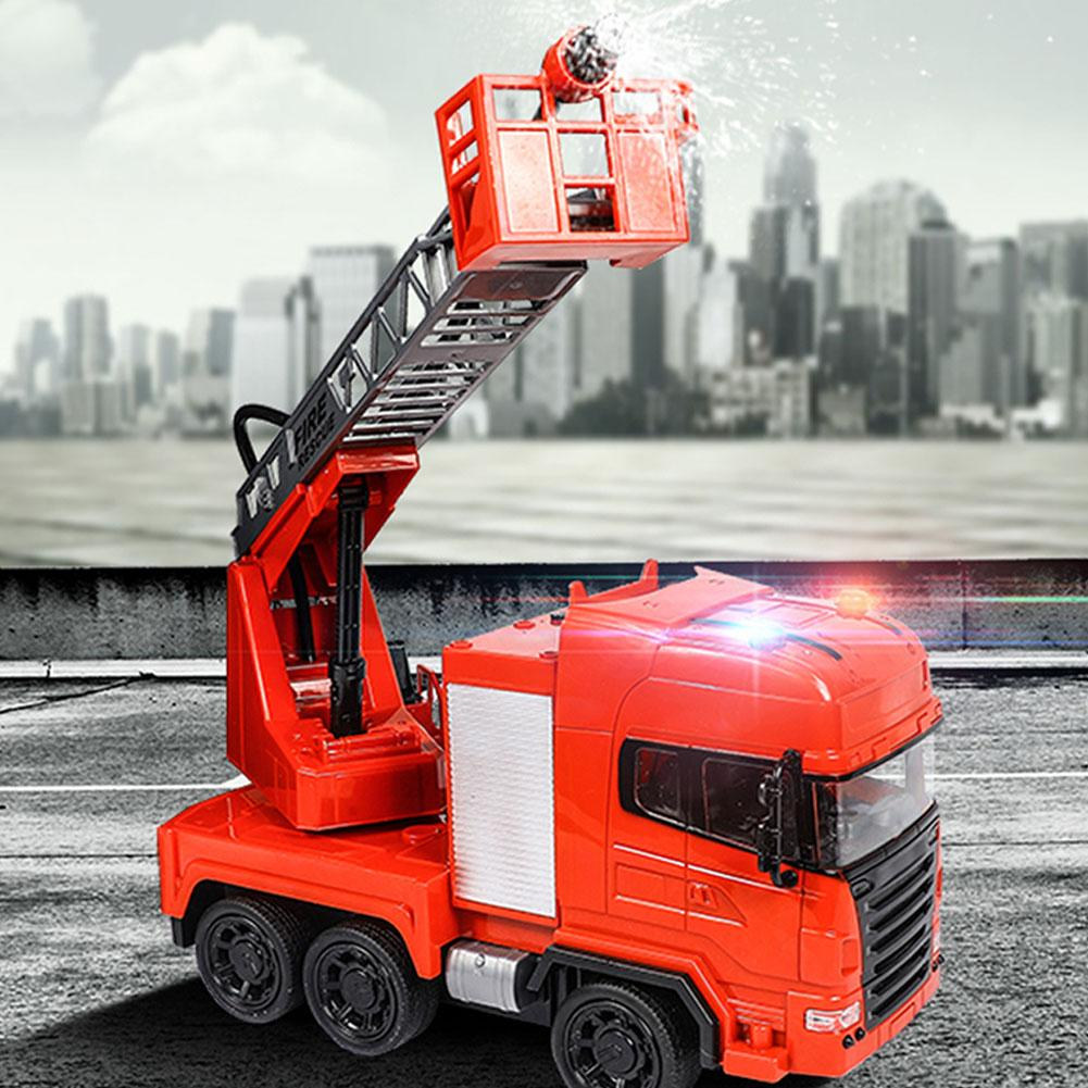 RC Fire Rescue Truck Car Electric Fire Engine With Ladders Rechargeable One-button Water Spray Remote Control Car Toy For Kids