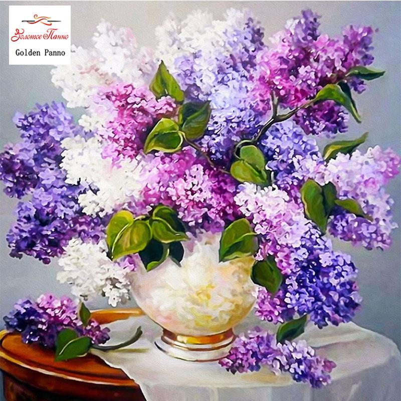 Faça você mesmo 5d rosa lavanda flor pintura diamante ponto cruz crianas diamante mosaico decoração para casa zx