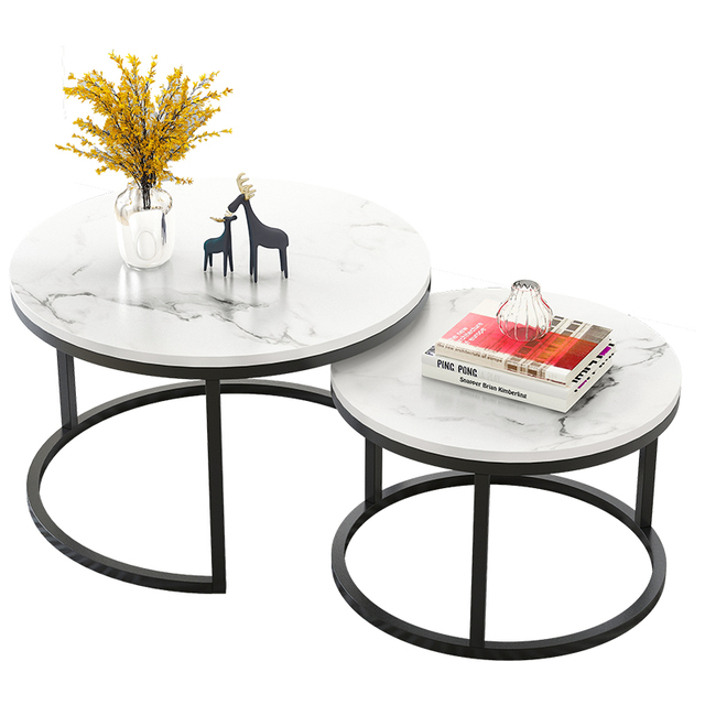 2 in 1 Living room coffee tables marble texture wooden combination furniture round tea table durable table