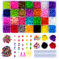 Colorful Rainbow Rubber Bands Bracelet Kit Loom Rubber Bands and Accessories DIY Crafts Making Bracelets For Children Girls Gift