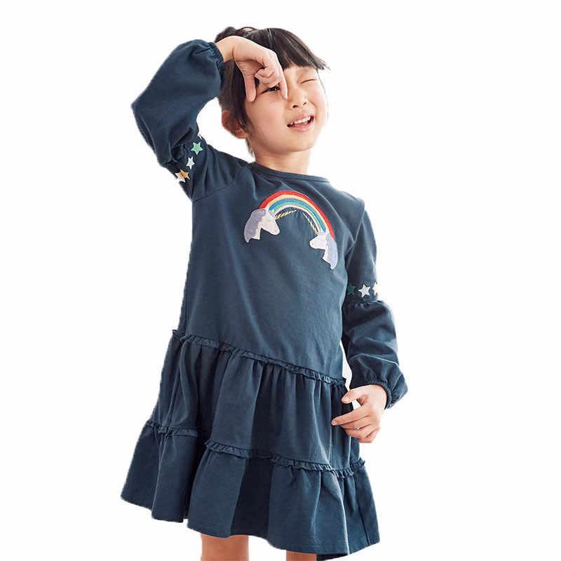 Nueva llegada tutú princesa vestidos de manga larga para Niñas para Otoño Invierno vestidos de fiesta de Bebé Ropa unicornio Arco Iris vestido de apliques