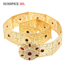 SUNSPICE MS Morocco Caftan Flower Metal Belt Waist Chain for Women Caucasus Ethnic Wedding gold silver color Body Jewelry