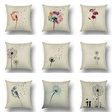 Dandelion Hot Sales Flax Cotton Linen Pillow Cover Sofa Office Car Pillow Case цена 2017