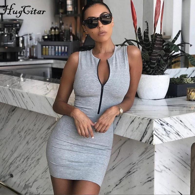 Hugcitar 2020 sleeveless zipper sexy bodycon mini dress summer women fashion streetwear sportswear outfits sundress