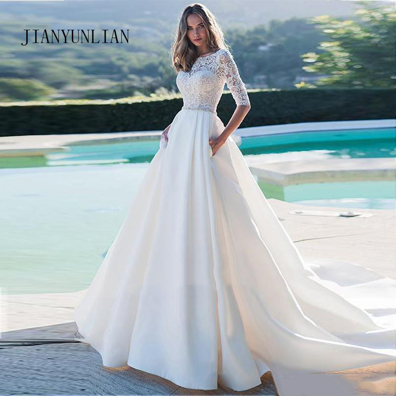 New Princess Wedding Dress Half Sleeves Elegant Appliqued A-Line Bride Dresses With Pockets Boho Wedding Gown