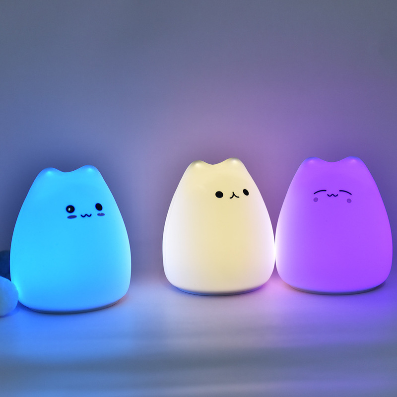Touch Sensor Colorful Cat LED Night Light Soft Silicone Battery Powered Bedside Lamp Baby Light Kids Toy Gifts Room Decor