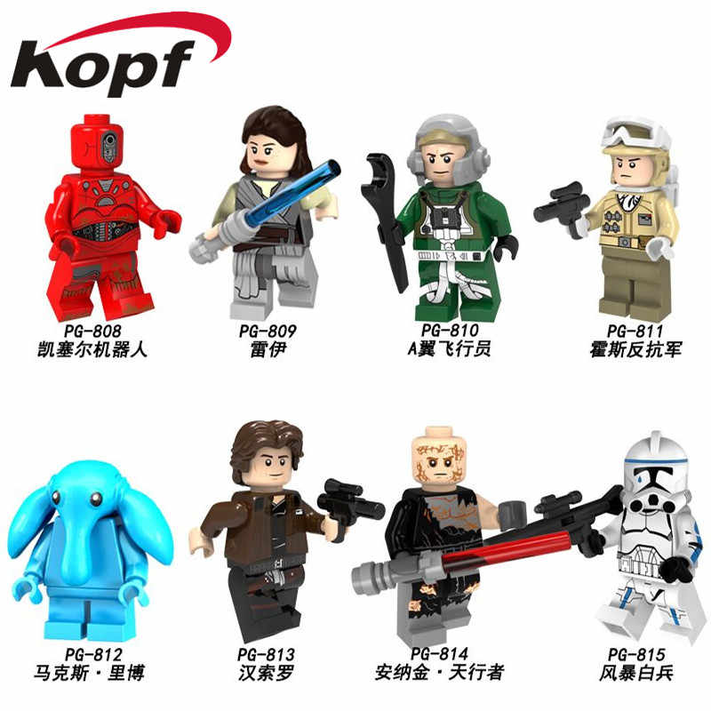 Single Sale Building Blocks Space Wars Rey A wing pilot Hoth Rebel Max Rebo Han Solo Anakin Storm Figures Children Toys PG8145