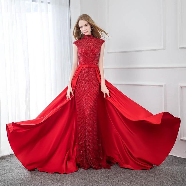 אופנה אדום גבוהה צווארון סאטן חרוזים שמלת ערב 2019 ארוך בת ים פורמליות ערב שמלות כובע שרוול YQLNNE