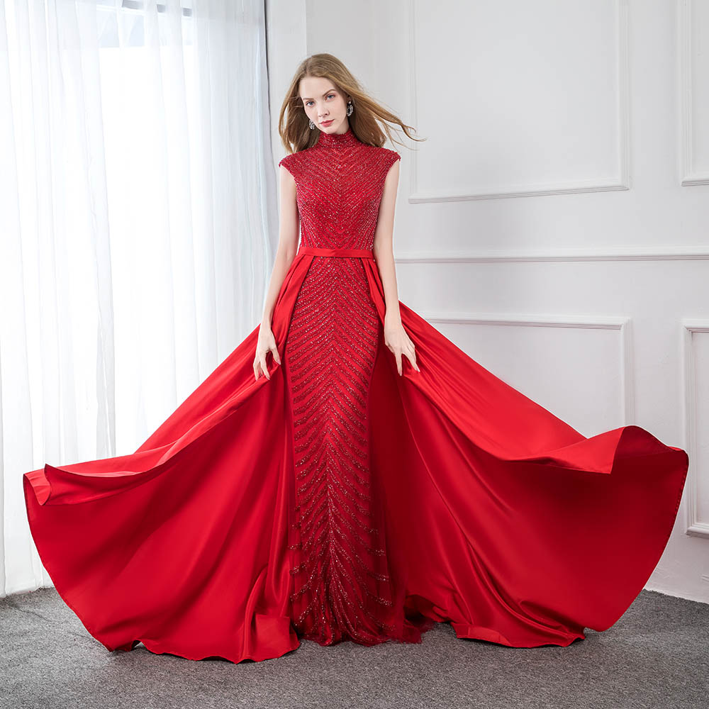 Fashion Red High Collar Satin Beaded Evening Dress 2019 Long Mermaid Formal Evening Gowns Cap Sleeve YQLNNE