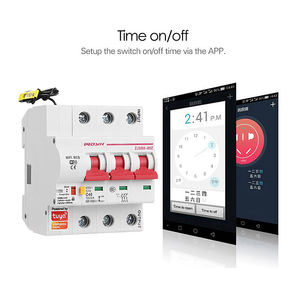 Smart Life(tuya) 3P WiFi Smart Circuit Breaker overload short circuit protection with  Amazon Alexa google home for Smart Home 4