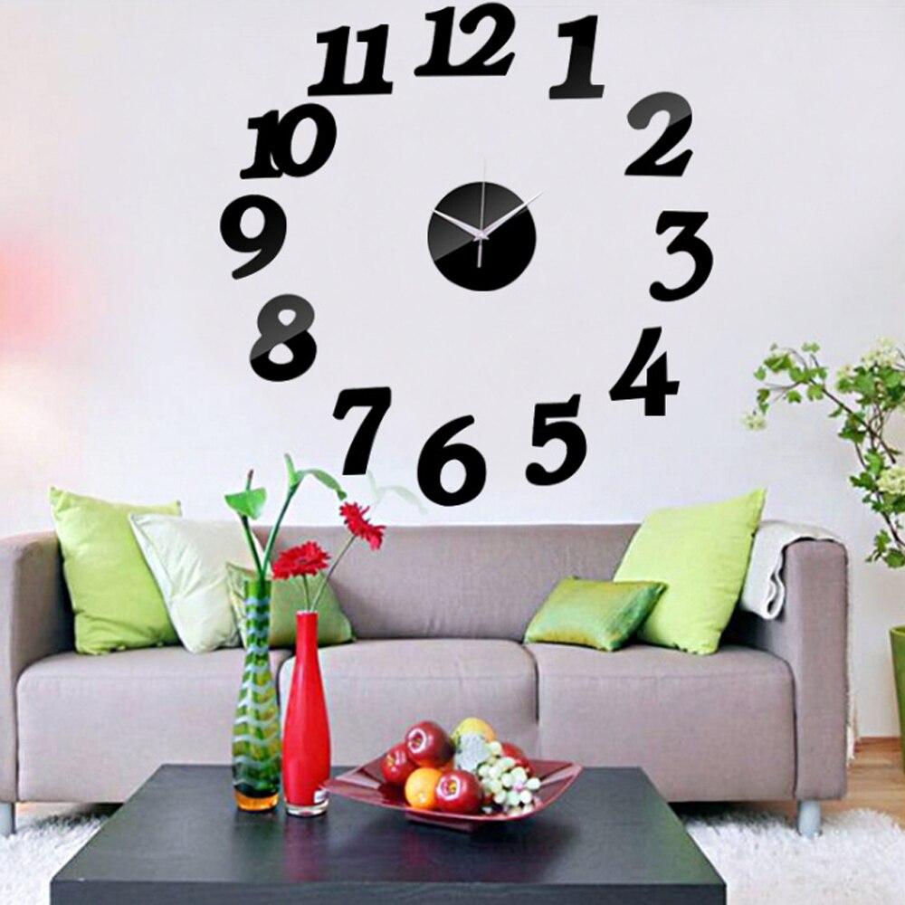 3D Wall Clock Acrylic Mirror Wall Stickers Modern DIY Wall Clocks Home Decor Living Room Quartz Needle reloj de pared 2020 NEW 3