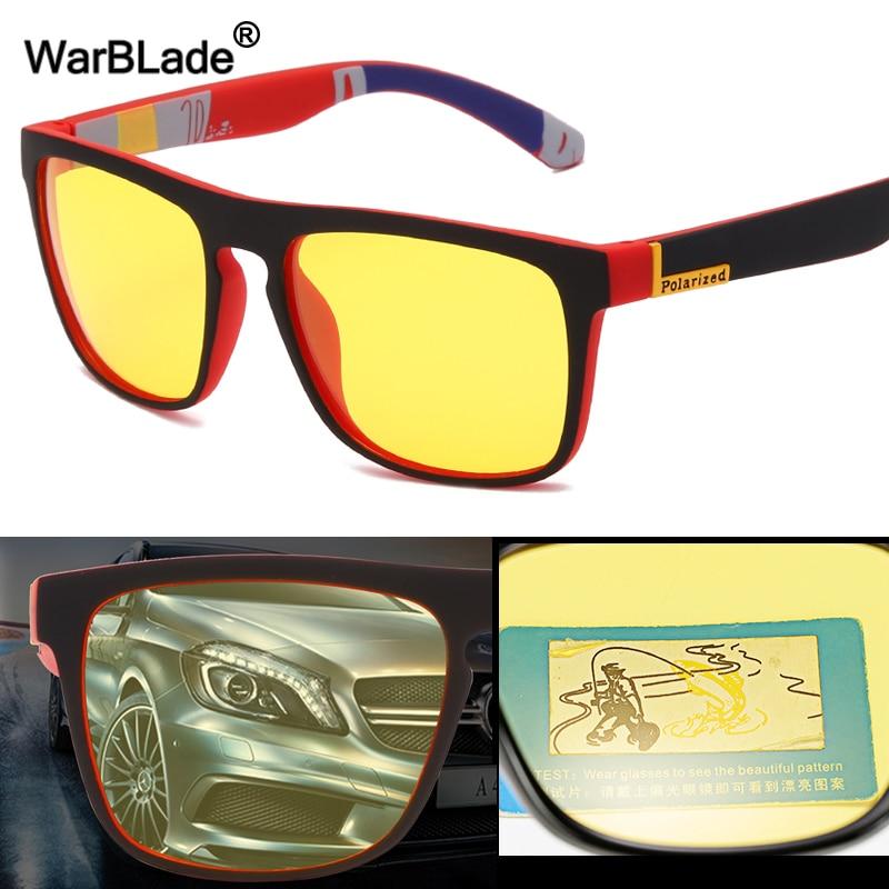 WarBLade New Square Polarized Sunglasses Men Night Vision Glasses Yellow Lens Anti-Glare Driving Sun Glasses UV400 Eyewear