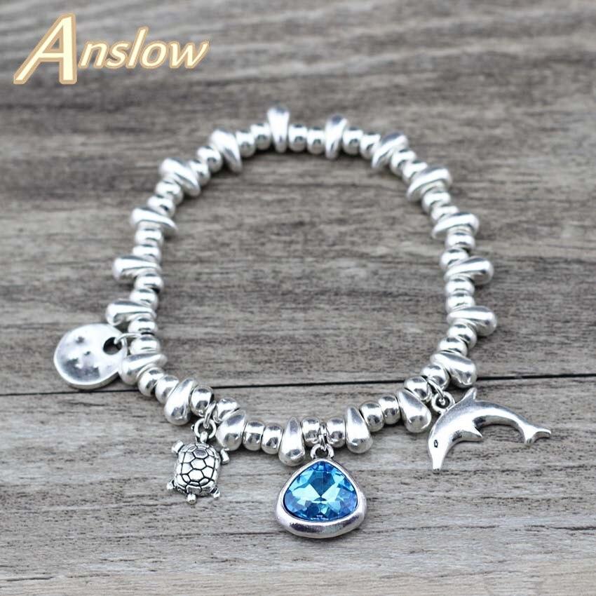 Marca Anslow Dolphin Tortoise Encantos DIY Ajustável de Cristal Do Coração Da Menina Estudantes Pulseira Para Mulheres Lady Presente Do Miúdo LOW0773LB