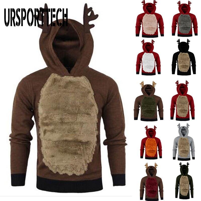 Unisex Christmas Hoodies Sweater Men Women Cute Christmas Elk Cosplay Sweaters Leisure Ugly Christmas Reindeer Sweater Pullovers