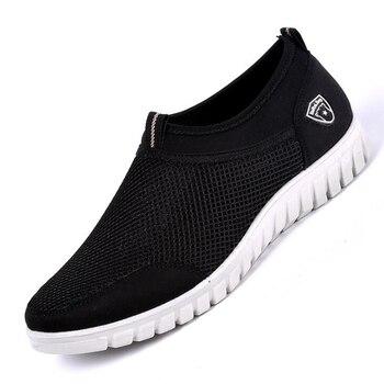 Zapatillas informales para Hombre, zapatos de malla, zapatillas negras para Hombre, zapato transpirable para Hombre, calzado antideslizante para Hombre, mocasines Tenis para Hombre