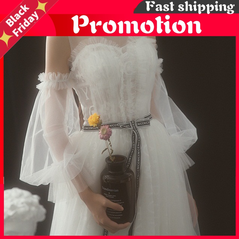 Bridal Mesh Decoration Gloves Elbow Loose Style Horn Sleeve Perspective Wedding Accessories Bride Gloves Red