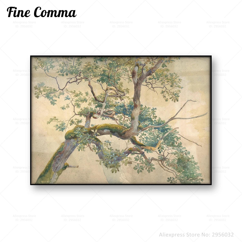 Landscape Vintage Trees A4//A3 Poster Vintage Nature Print