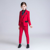 YuanLu 3PCS Kids Suit For Girls Blazer Coat Wedding Party Piano Silm Fit Costume Children Coat Red/Black Formal Handsome Dress