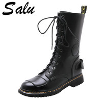 Salu Black Genuine Leather Mid calf Boots for Women Lace Up Platform Boots Women Winter Warm Boots Women Street Style Shoes