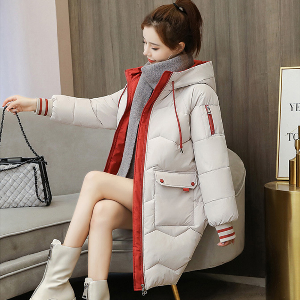 Imbottiture parka di inverno delle donne con cappuccio cappotto caldo più il formato lungo vestiti con cappuccio allentato giacca di colore giacca trapuntata di pane 2008