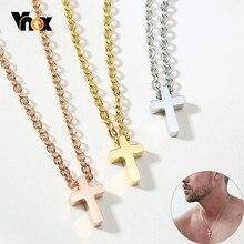 Vnox-Colgante de Cruz pequeña de acero inoxidable para hombre y mujer, collar sencillo y clásico de Jesús, joyería religiosa Unisex, cadena de 20