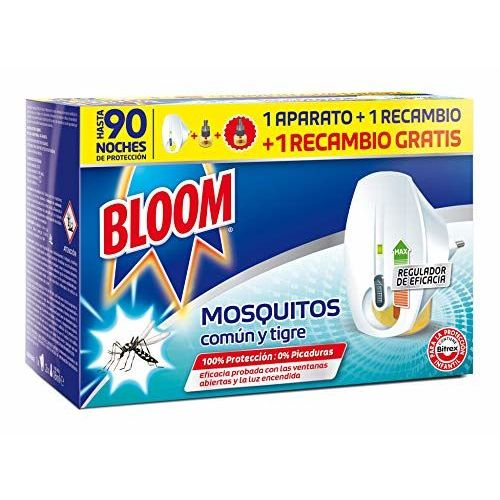 Bloom Doble Eficacia Electrico Líquido Para Mosquitos Común Y Tigre Aparato + 2 Recambios