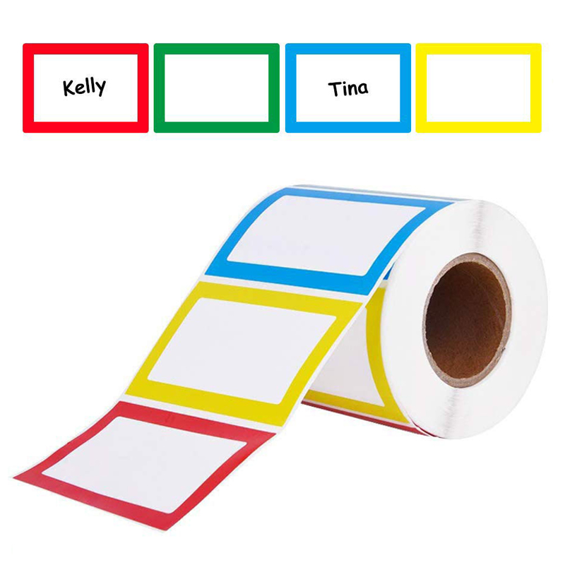150Pcs/roll Colorful Plain Name Stickers Name Tags Stick On For Kids, Wall, Desk For School Teacher Offer Stationery Sticker