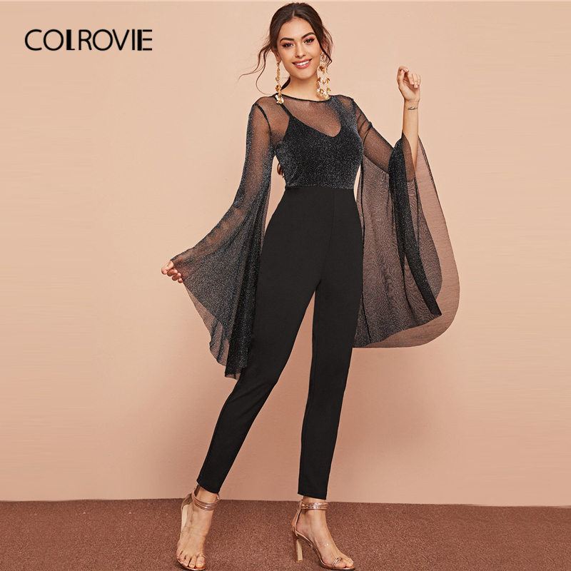 COLROVIE Black Exaggerated Flounce Sleeve Glitter Mesh Bodice Jumpsuit Without Cami Women 2020 Spring Skinny Sexy Jumpsuits