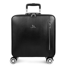 Genuine Leather Trolley Spinner Wheel Suitcase 16/20 Inch Business Boarding Suitcase Box Customs Lock Rolling Portable Luggage