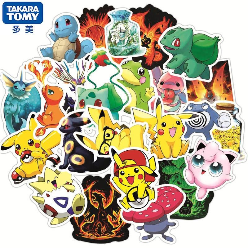 50 adet sevimli çizgi film Anime Pokemon çıkartmalar Kawaii kaykay gitar dizüstü seyahat bagaj araba su geçirmez etiket kız çocuk oyuncakları