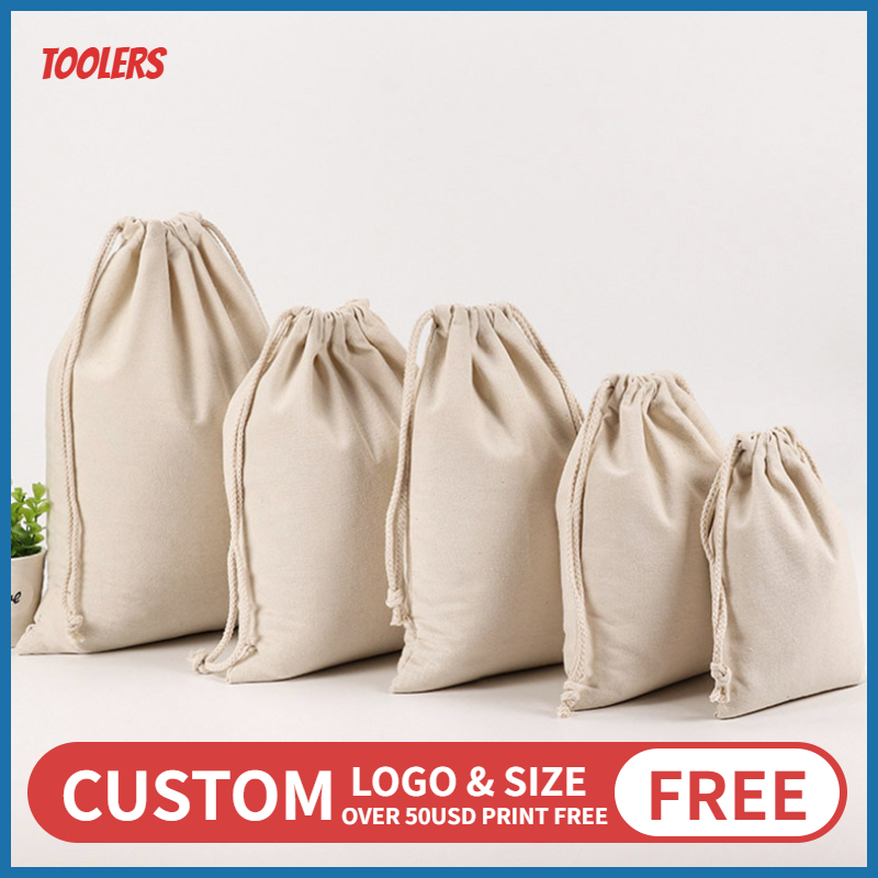 20pcs 8oz Canvas Drawstring Bag Eco Friendly Durable Draw String Packaging Bags Large Capacity Pouch Wholesale Custom Logo