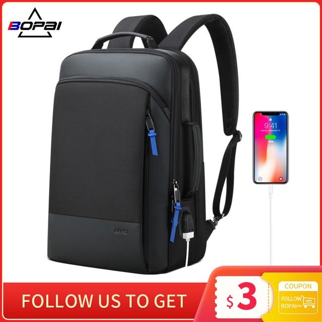 BOPAIกระเป๋าเป้สะพายหลังขยายWeekendทำงานเดินทางกลับPackชายกันน้ำ15.6นิ้วแล็ปท็อปป้องกันการโจรกรรมธุรกิจBackpacking