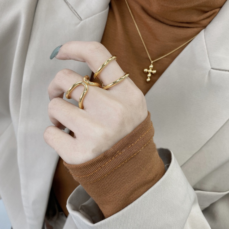 Mengjiqiao Панк мода двойной пушапом нерегулярные золото Цвет
