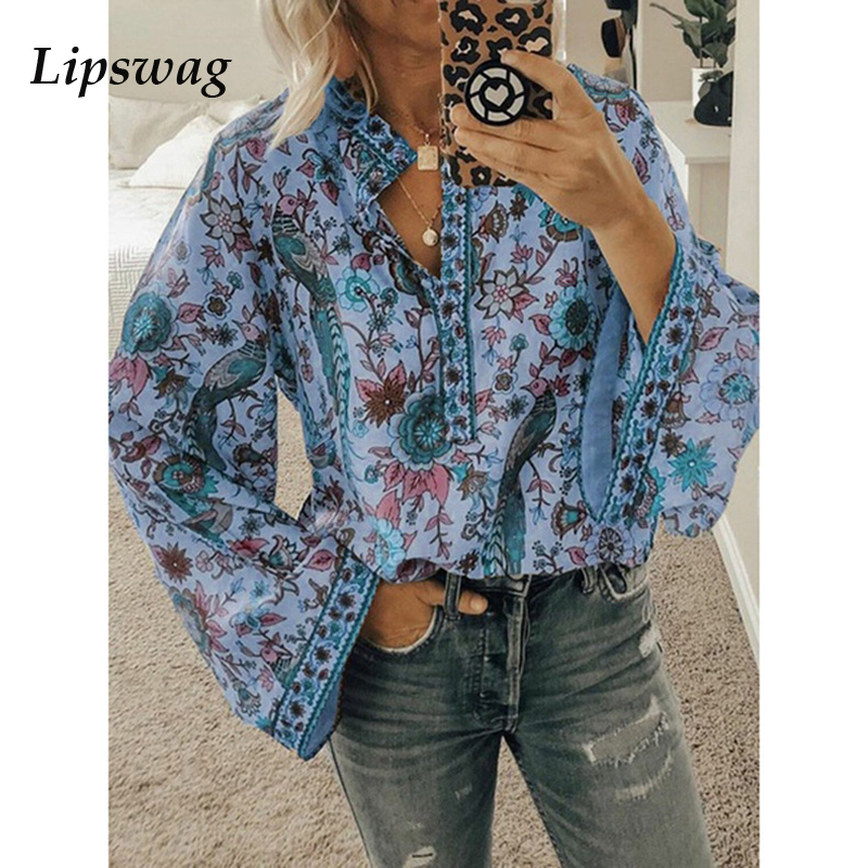 Lipswag 2019 Boho   Blouse   Peacock Floral Print Long Sleeve   Shirt   Casual V-neck Women Tops Summer Autumn Chic   Blouses   Female 2XL