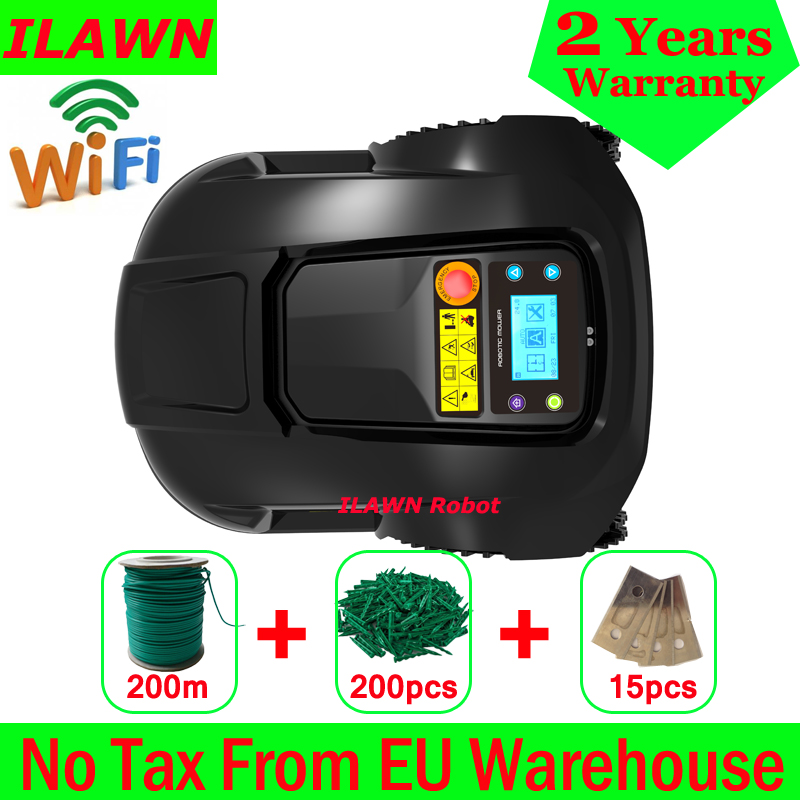 WiFi APP GYROSCOPE Navigation Robot Lawnmower Grass Mower With Water-proofed Charger,200m Wire,200pcs Pegs