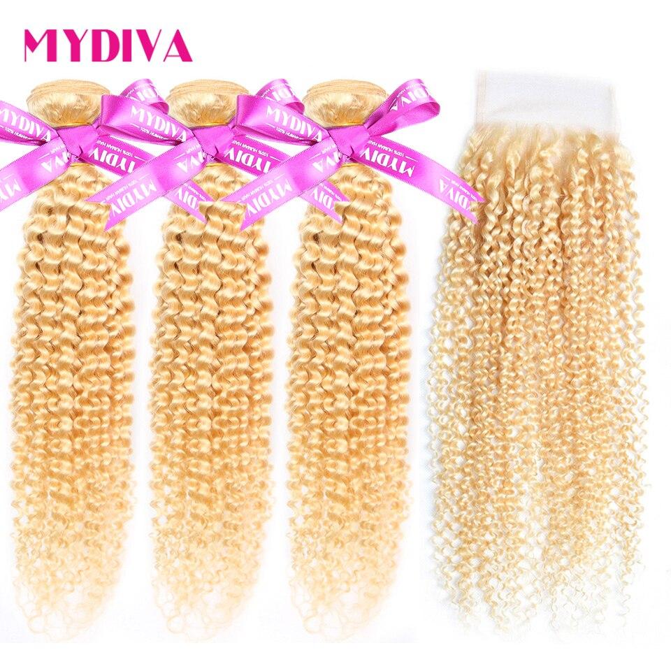 613 blond wiązki z zamknięciem brazylijski perwersyjne kręcone włosy 3 zestawy z zamknięcia Remy doczepy z ludzkich włosów 4 sztuk/partia Mydiva w 3/4 pasma z siateczką od Przedłużanie włosów i peruki na AliExpress - 11.11_Double 11Singles' Day 1